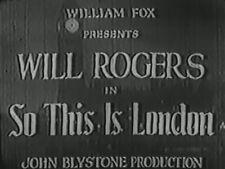 SO THIS IS LONDON 1930 (DVD) WILL ROGERS, IRENE RICH, MAUREEN O'SULLIVAN