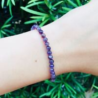 4mm Natural Amethyst Positive Vibe Healing Gemstone Beaded Bracelet Jewlery GIft