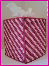 PINK ROSE HANDMADE PLASTIC CANVAS TISSUE BOX COVER TOPPER