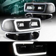 BLK DRL LED HEADLIGHTS+BUMPER W/CLEAR REFLECTOR FIT 02-06 GMC SIERRA 1500 DENALI