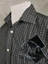 LA MARTINA Polo Academy Men's Black L/S Slim Fit Shirt - LARGE