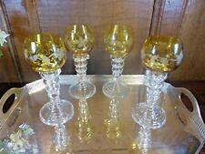 "STUNNING ANTIQUE SET 4 crystal VINE ENGRAVED AMBER ROEMERS/WINE GLASSES - 6"""