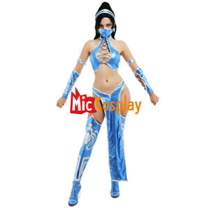 Mortal Kombat 9 MK9 Kitana Split Suit Cosplay Costume Outfit with Wristbands