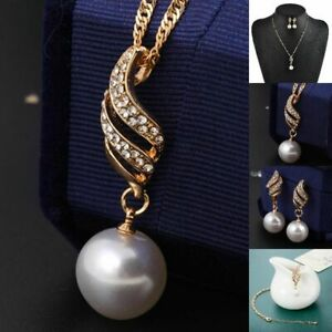 Wedding Women Jewelry Crystal Gold Plated Pendant Necklace + Earrings Set A8W3