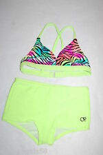 Girls TWO PIECE Swimsuit NEON LIME GREEN Hot Pink Blue ZEBRA Boy Shorts  S 6-6X