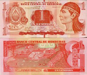 Honduras Banknote 1 Lempira 2014 Währung Geldschein aus Honduras Südamerika UNC.