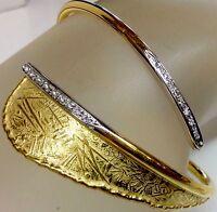 Italian Designer Cuff Bracelet W/Diamond Accents Solid 18K Brushed Yellow Gold