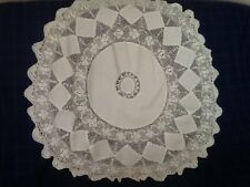 "BEAUTIFUL WHITE COTTON & CROCHET LACE ROUND TABLECLOTH 36"" Diameter"