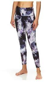 GAIAM OM FIT High Waisted  Leggings. Size Medium Black Purple EUC