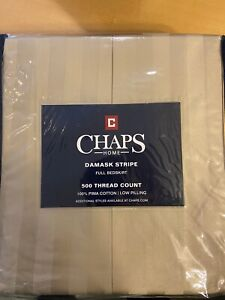 NEW CHAPS HOME DAMASK STRIPE DOUBLE/FULL BEDSKIRT OATMEAL 100% COTTON