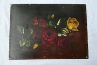 ANTIQUE OIL PAINTING STILL LIFE FLORAL ROSE VICTORIAN COUNTRY FOLK ART PRIMITIVE