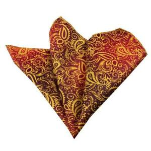 Celino Red Gold Paisley Pocket Square for Men Silk Handkerchiefs for Suits