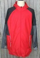 Adidas Mens Size 2XL Track Jacket Windbreaker Vented Hood Orange Gray Full Zip