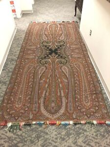 "Antique Kashmir French Paisley Shawl Arabesque Ex-Large Rare 19th C (60"" X 128"")"