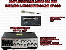 AMPLIFICATORE AUDIO HIFI USB 12V 220V SD MP3 FM CON MICROFONO CON FUNZIONE 2 IN1