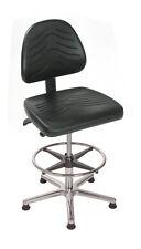 Arbeitsstuhl Modell 8445 - mit Bodengleitern und Fußring, Sitz PU schwarz