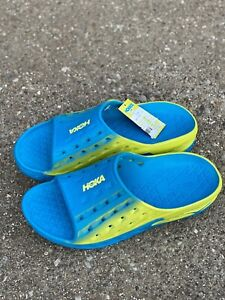 Hoka One One Men's Ora Recovery Slip On Slide Sandal US 11 Blue Citrus Yellow