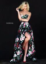 Sherri Hill 50963 Black Floral Print Hi Lo Pageant Prom Gala Gown Dress sz 4