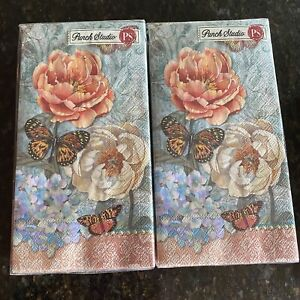 """Paper Guest Napkins Towels Butterfly Floral Decoupage Crafting Set Of 2 19""""x 16"""""""