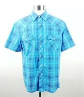 Wrangler Mens Western Shirt Pearl Snap Size Large Short Sleeve Blue Plaid Cotton