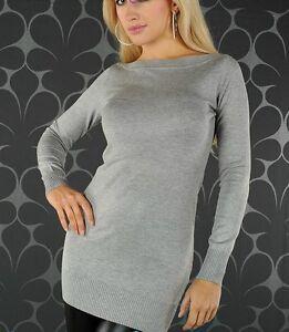 SeXy Miss Damen Long Pulli Strick Pullover Mini Kleid M/L 36/38 NEU TOP grau