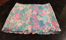 Lilly Pulitzer Pink & Blue Floral Mini Skirt Size 00.  All Cotton. Pretty!