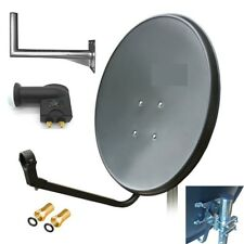 SATELLTE DISH 110CM GRAPHITE GALVANIZED ANTENNA KIT LNB TWIN 50cm WALL BRACKET