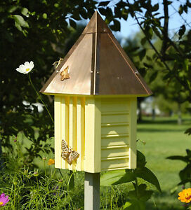 """BUTTERFLY HOUSES - """"HIGHCLERE GARDENS"""" YELLOW BUTTERFLY HOUSE WITH COPPER ROOF"""