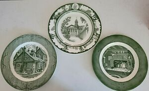 Set of 3 Mismatched China Ironstone Transferware Dinner Plates - Green & White