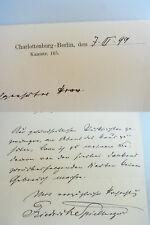 Schriftsteller Friedrich SPIELHAGEN (1829-1911): Signierter Brief BERLIN 1899