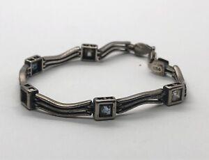 "Vintage Sterling Silver Bracelet 925 7.25"" Multi Stone Missing Stone"
