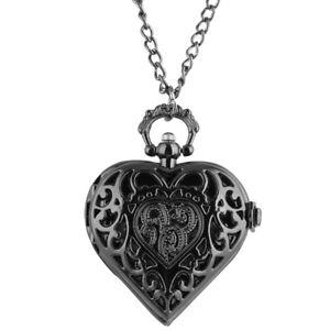 Steampunk Hollow Out Case Heart Shape Women Lady Quartz Pocket Watch Chain