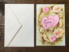 Valentines Hallmark Greeting Card-Pink Flowers-Angels-Gold-Valentine-Love-Kiss