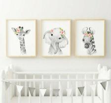 Jungle Safari Animals Picture Prints Posters Girls Bedroom Nursery Decor Gift