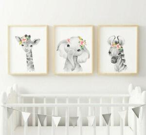Jungle Safari Animals Picture Prints Word/ Wall Art Girl's Bedroom Nursery Decor