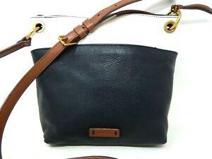 FOSSIL Black & White Pebble Cow Hide Leather Medium Crossbody Bag Purse Top zip