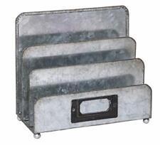 Vintage 3 Tier Home Office Desk Organizer Rectangular Grey Metal File Holder