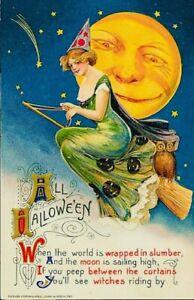 Antique Halloween Slumber Moon Witch Postcard 4x6 Print