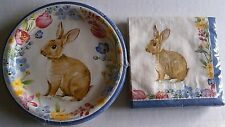 EASTER Luncheon Paper Plates & Napkins  BUNNY GARDEN
