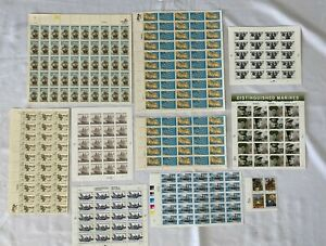 LOT OF WARS / MILITARY / SHIPS VOYAGES US POSTAGE STAMP SHEETS 264 STAMPS !