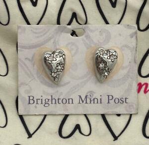 Brighton Fireworks Silver Crystal HEART Post Earrings