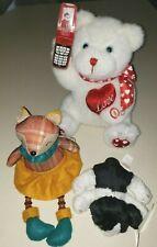 3 pc PLUSH TOYS STUFFED ANIMALS RUSS PUPPY FOX BEADS LEGS CELL PHONE TEDDY BEAR