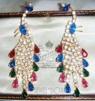 VINTAGE Harlequin Rhinestone Crystal Cascade Chandelier Pendant PEACOCK Earrings
