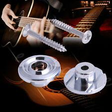2Pcs Guitar Chrome Metal End Pin Strap Bass Button Peg Lock / Cushion Screws