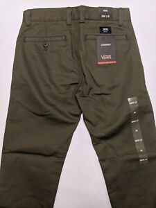 Vans New Authentic Chino Stretch Khaki Pants Youth Boy's 26/12