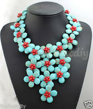bib necklace handmade Turquoise & Coral  flower necklace Wedding Woman Jewelry