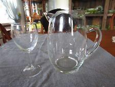 VINTAGE SUSQUEHANNA GLASS SIX POINT STAR WATER PITCHER & GOBLET