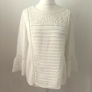 Mint Velvet Cream Ivory Blouse Size 14 Fluted Sleeves Embroidered Detail Keyhole