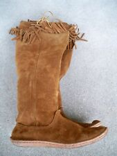 Vtg Leather Moccasin Mukluk Renaissance Fringe Leather Hippie Boots Women's 7