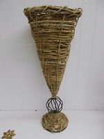 "KW-433 24""  Wicker Rattan Basket Weave and Metal DRY FLOWER VASE LARGE DECOR"